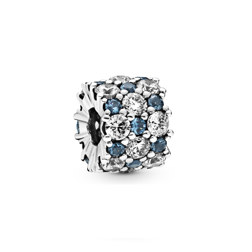 Sterling silver charm with moonlight blue crystal and clear cubic zirconia 串饰