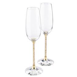 CRYSTALLINE祝酒杯, 金色 (一对)