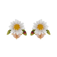 DAISY ON FACETED GLASS EARRINGS耳饰