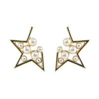 WHITE PEARL STAR EARRINGS 耳饰