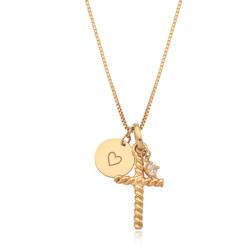 [925银] CROSS X COIN LAYERED NECKLACE(GOLD) 项链
