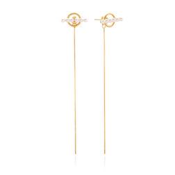 [925银] BELLUS CIRCLE PEARL DROP EARRINGS(GOLD) 耳饰