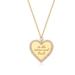 [925银] LETTERING HEART COIN NECKLACE(GOLD) 项链