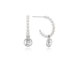 [925银]FEMME COIN PEARL HOOP EARRINGS(SILVER) 耳饰
