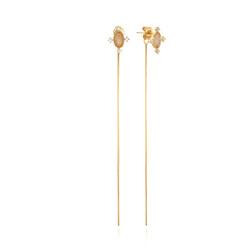 [925银] BELLUS DROP GLASS EARRINGS(GOLD) 耳饰