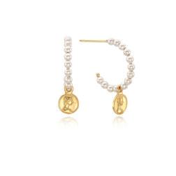 [925银]FEMME COIN PEARL HOOP EARRINGS(GOLD) 耳饰