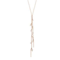[925银] LUSTER PEARL Y CHAIN NECKLACE(ROSE GOLD) 项链