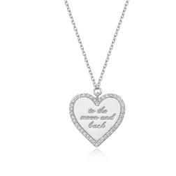 [925银] LETTERING HEART COIN NECKLACE(SILVER) 项链