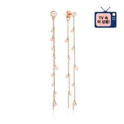 [925银] LUSTER PEARL CHAIN DROP EARRINGS(ROSE GOLD) 耳饰