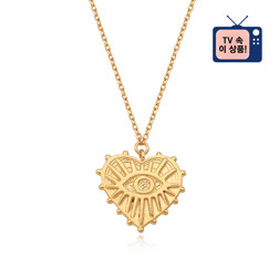 [925银] HEART EVIL EYE COIN NECKLACE (GOLD) 项链