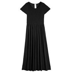 MODAL DIAGONAL PATTERN CAP SLEEVES MIDI DRESS 连衣裙 黑色