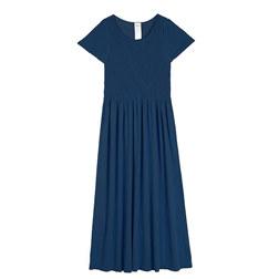 MODAL DIAGONAL PATTERN CAP SLEEVES MIDI DRESS 连衣裙 深蓝色