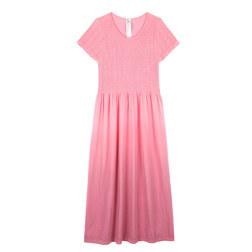 19 INCH BASIC SMOCKING CAP SLEEVE GRADATION LONG DRESS 渐变盖袖长裙 粉色