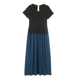 19 INCH BASIC SMOCKING CAP SLEEVE GRADATION LONG DRESS 渐变盖袖长裙 深蓝色