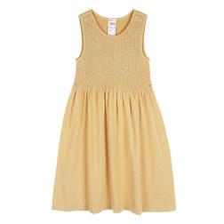 KIDS BASIC SMOCKING 4-6YEARS OLD SLEEVELESS DRESS 儿童连衣裙 黄色