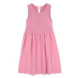 KIDS BASIC SMOCKING 4-6YEARS OLD SLEEVELESS DRESS 儿童连衣裙 粉色
