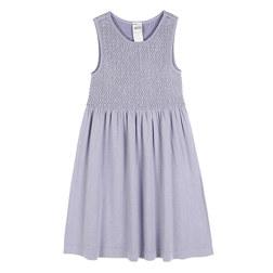 KIDS BASIC SMOCKING 4-6YEARS OLD SLEEVELESS DRESS 儿童连衣裙 浅紫色