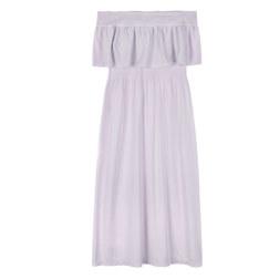 OFF SHOULDER MIDI DRESS 连衣裙 浅粉色