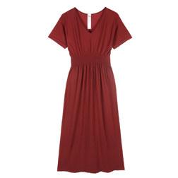 BATWING SLEEVE BASIC LONG DRESS 连衣裙 红色