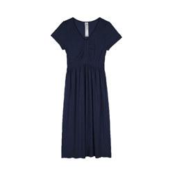 [现代专售] CHEST SHIRRING HALF SLEEVE LONG DRESS 连衣裙 深蓝色