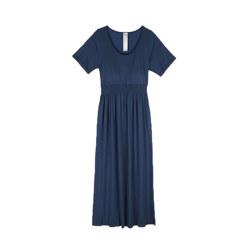 [现代专售] BRA CUP BUILT-IN CAP SLEEVE LONG DRESS 连衣裙 深蓝色