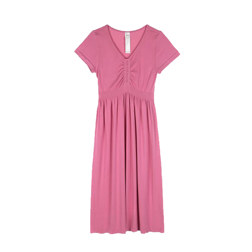[现代专售] CHEST SHIRRING HALF SLEEVE LONG DRESS 连衣裙 粉色