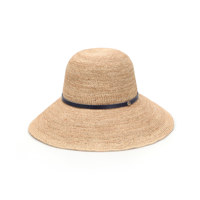 KOBALU ITALIAN WHOLE SKIN STRAP WIRE OVER FIT RAFFIA HAT NATURAL/NAVY 帽子