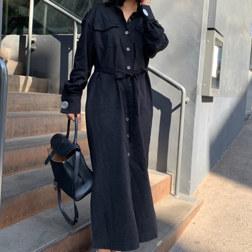 长衬衫连衣裙_BLACK