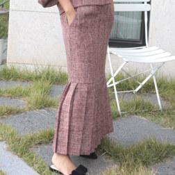 粗花女士裙子_ORANGE