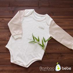 纯竹纤维 婴儿长袖连体衣 不带裤腿 0~3个月
